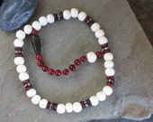 27 bead pocket mala in beautiful white bone, red horn and wood