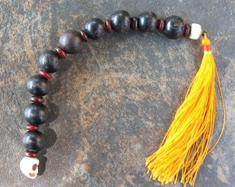 Mala in the chaplet style with nice large wood beads, skull and tassel