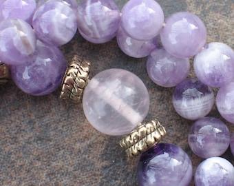 Amethyst necklace inspired by Buddhist prayer mala