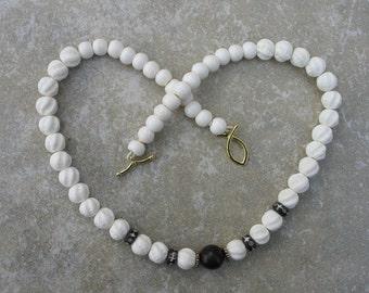 Mala-inspired carved bone necklace