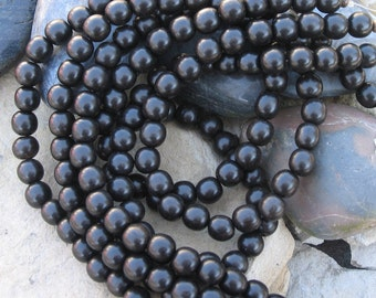 Real black ebony wood beads 8mm round for your mala