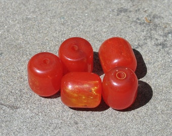 Beeswax red beads lot of six