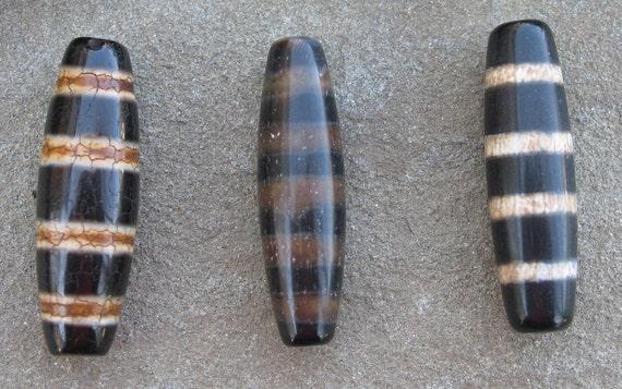 Set of three striped agate dzi beads