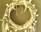 Sale% Driftwood Wreath Centerpiece with white silk cocoons, crystals, vintage lace, blue flowers - 14 inches - weddnig centerpiece