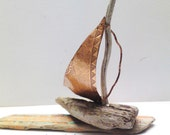 Samothraki - Driftwood Sailboat with sail from Copper- one of a kind -ready to ship