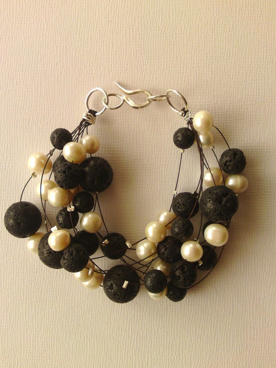 Black Lava Bracelet with  freshwater pearls & sterling silver - Handmade - The perfect Cristmas gift for her