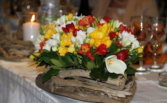 Driftwood wedding centerpiece - wood vase planter - flower arrangement - approx. 25 inches long