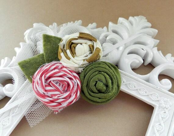 Holiday Baby Headband Christmas Newborn Headband Winter Fabric Flower Hairclip Photo Prop