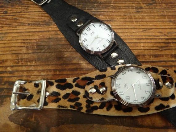 Watches  Leopard and Black  Cuff Watches