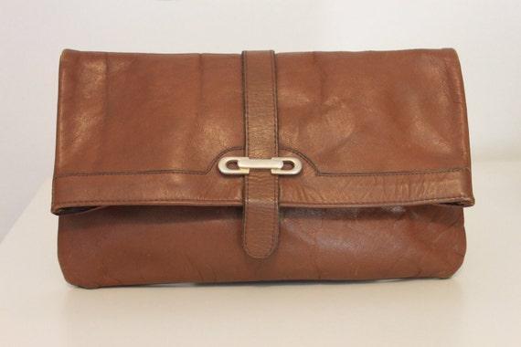 Vintage Brown Leather Envelope Clutch with Back Zipper Pocket