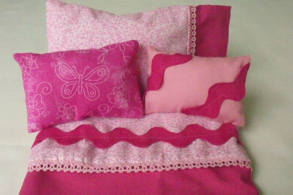 Doll Bedding Set in hot pink for 18 inch doll bed