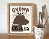 Brown Dog Personalized Chocolate Labrador Retriever Kitchen Art Print