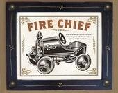 Fireman Art Print Old Toy Truck Black and White Framed Wall Art