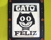 Cat Art Print Mexican Framed Black and White