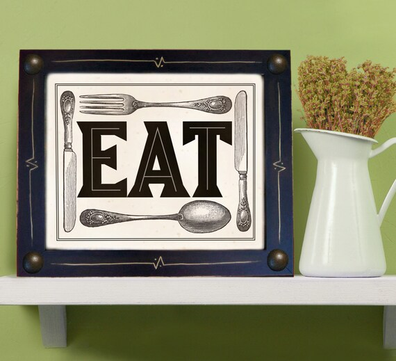 Black And White Kitchen Artwork: Items Similar To Kitchen Art Print Mexican EAT Black And