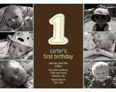 """The Big """"1"""" First Birthday Invitation Photo Card (Boy) - Digital File"""