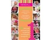 The First Year 1st Birthday Invitation Brights (Girl or Boy) - Digital File