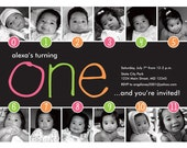 Neon Timeline 1st Birthday Invitation Neon (Girl or Boy) - Digital File