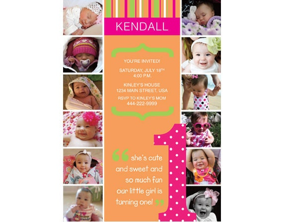 The First Year 1st Birthday Invitation Brights (Girl or Boy) - Digital File