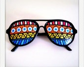 To Bao Lu - Hand Drawn Shades (Tribal)- colorful sunglasses for fun costume, party decoration and special occasions