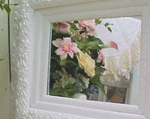Gorgeous Hand Painted Mirror... Vintage Shabby Chic White...Layered