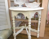 Hand Painted White Decorative Table...Shabby Chic Distressed...Curved Carved Delight