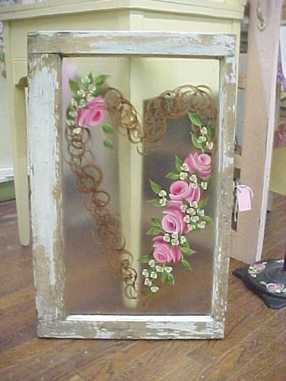 Chippy Window Roses Hand Painted Fabuloso Shabby