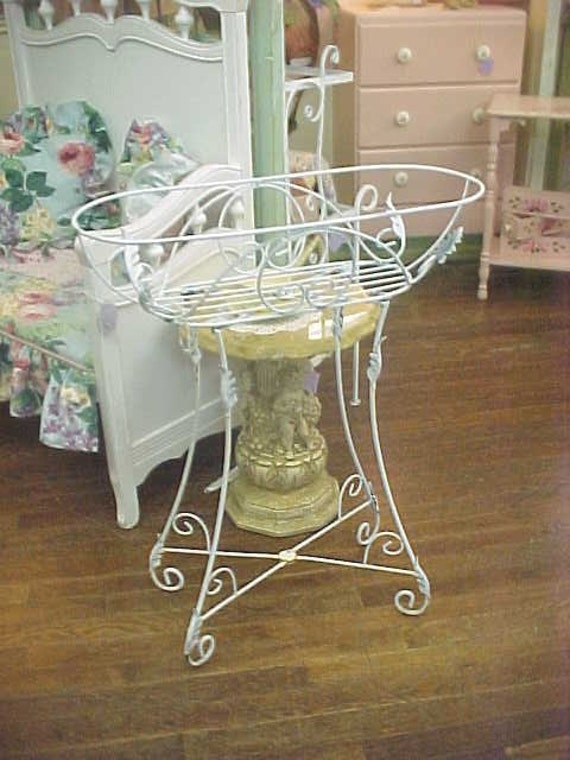 old wrought iron planter plant stand shabby white metal. Black Bedroom Furniture Sets. Home Design Ideas