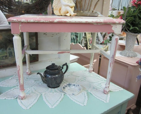 Shabby Chic Vanity Stool Bench Chippy Creamy By