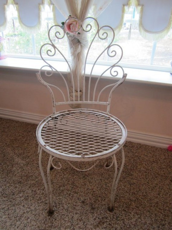 Shabby Wrought Iron Peacock Garden Chair Chippy Peely