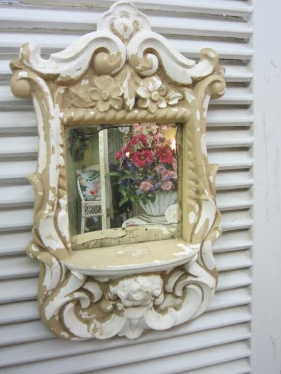 RESERVED for Vanita...Gorgeous Antique Chalk Ware Chalkware Mirror...Cherub...Chippy Creamy White...Paris Flea Market Flair