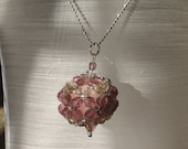 SALE beaded ball pendant - beautiful czech crystal beads  on long silver color metal necklace SALE was USD 22.00