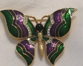 enameled  green purple butterfly brooch - LIGONaccessories