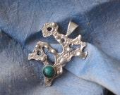 ethnic pendant, silver pendant with green malachite stone, eilat stone, modern silver pendant, blackend silver and malachite stone