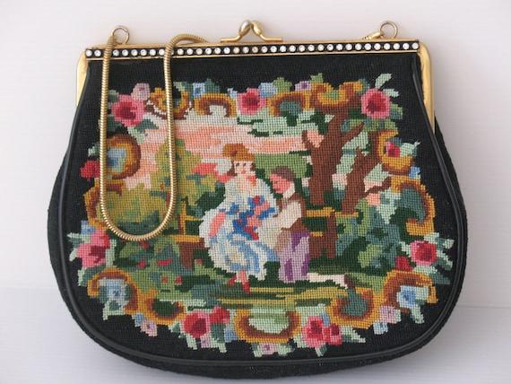 vintage purse, black evening bag, vintage handmade petit point handbag, tapestry  with rhinestones elegant bag