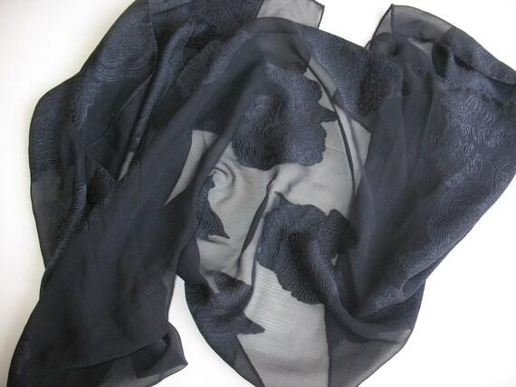dark blue/black silk chiffon scarf - partly woven