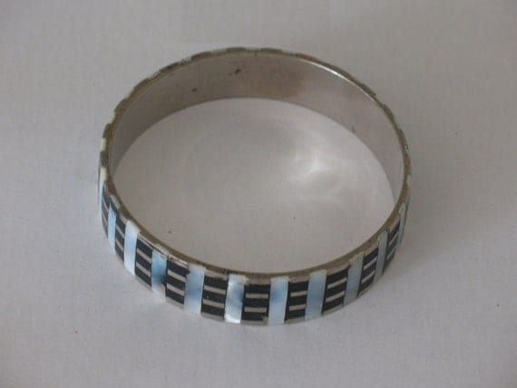 metal bangle, metal bracelet, black and white bracelet, mother of pearl inlay,