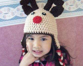 Crochet Riendeer Hat, Children Riendeer hat, Toddler Hat - Made to Order