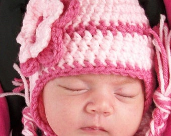 Newborn earflap hat - Crochet Earflap Hat In Pink For Baby Girl