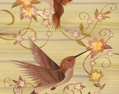 """Hummingbirds - Wood Art - Marquetry GICLEE PRINT on archival matte paper - 8""""x10"""""""