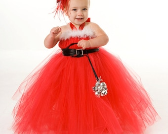 READY TO SHIP:  Tutu Dress - Red - Christmas Holiday - Santa Sweetie - 18 Month to 2 Toddler Girl - Cutie Patootie Designz