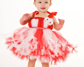 READY TO SHIP:  Petti Tutu Dress - Birthday or Christmas Outfit - Red & White - Peppermint Swirl - 12 Month to 2 Toddler Girl