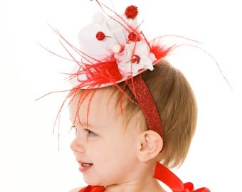 READY TO SHIP: Birthday or Christmas Mini Top Hat Headband - Peppermint Swirl - Red & White - Fits toddler to adult - Cutie Patootie Designz