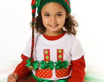 READY TO SHIP:  North Pole Pixie Elf Shoes T-Shirt - Christmas Holiday - Size Medium 7/8 Youth Girl - Cutie Patootie Designz