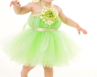 Flower Girl Tutu Dress - Mint Green- Key Lime Cutie - 12 Month to 2 Toddler Girl