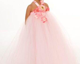 Flower Girl Tutu Dress - Pink - Cotton Candy Cutie - 5-6 Youth Girl