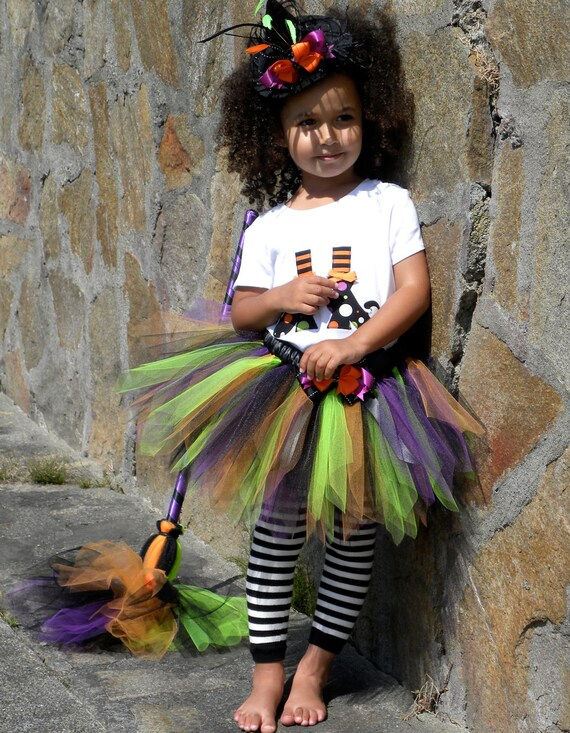 Tutu Skirt - Witch Halloween Costume - Spunky Spellbinder - 5-6 Youth Girl