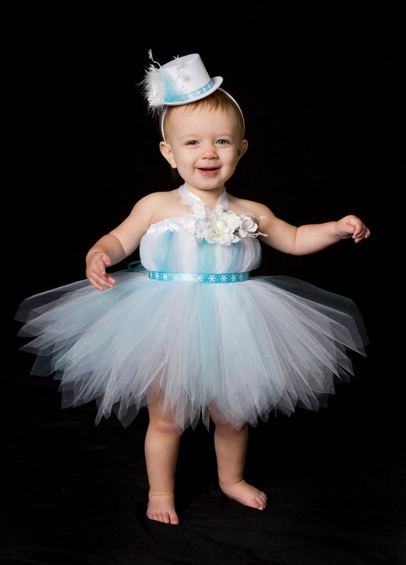 Tutu Dress - Holiday or Christmas Outfit - Aqua Blue & White - Frosted Fairy - 5-6 Youth Girl - Cutie Patootie Designz