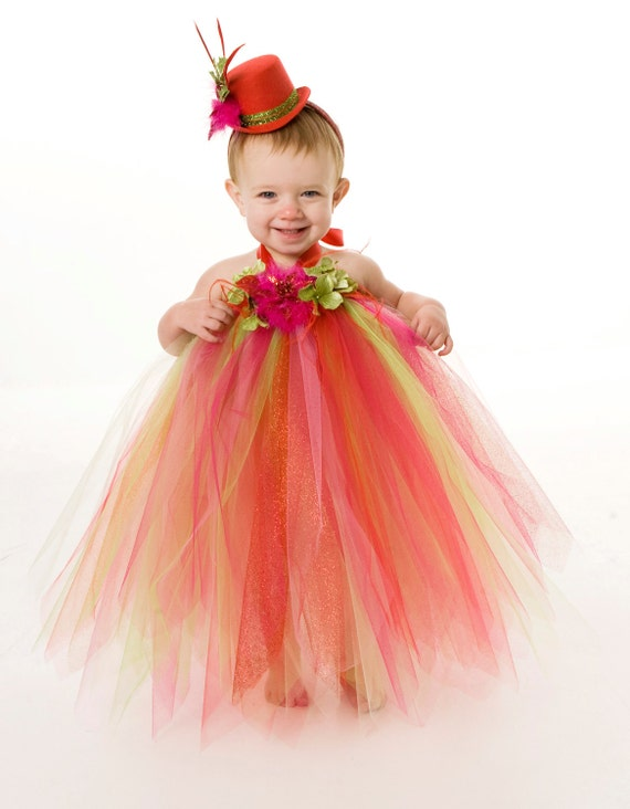 Tutu Dress - Holiday or Christmas Outfit - Red, Pink & Green - Jubilant Jewel - 3-4 Toddler Girl