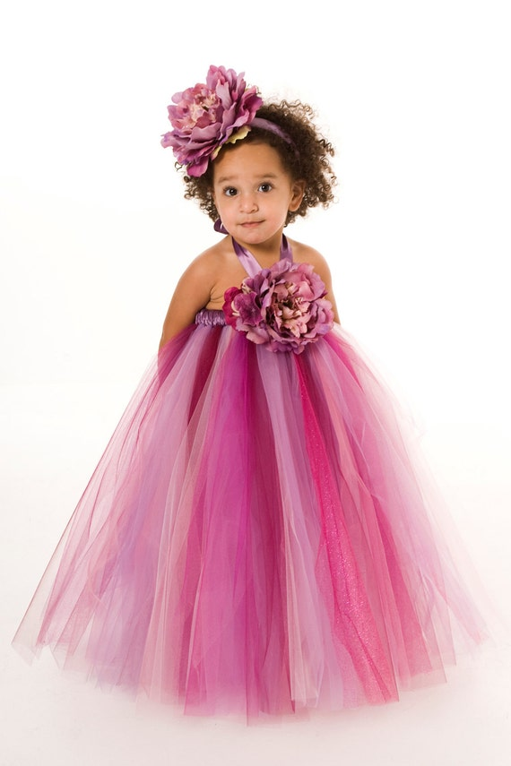 Flower Girl Tutu Dress - Purple - Sugar Berry - 3-4 Toddler Girl